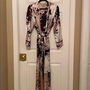 Silky floral full length kimono robe